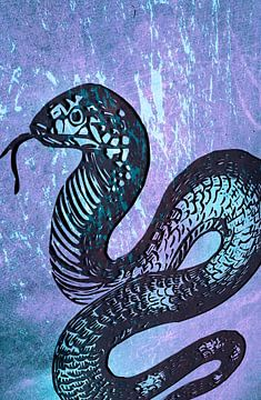Schlange blau van Rosi Lorz