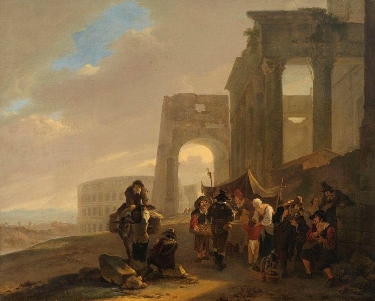 Menschenszene zwischen römischen Ruinen, Jan Both, 1640 - 1652 von Marieke de Koning