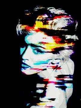 Madonna - Live To Tell Abstraktes Porträt in Schwarz, Grau, Blau, Gelb, Rot von Art By Dominic