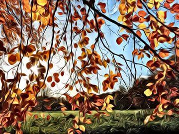 digitale schilderkunst, herfstbladeren aan een tak van Joke te Grotenhuis