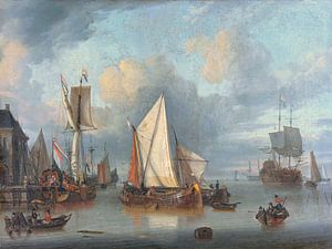 Schepen in de haven bij rustig weer, Jan Claesz. Rietschoof