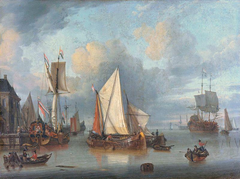 Schepen in de haven bij rustig weer, Jan Claesz. Rietschoof van Meesterlijcke Meesters