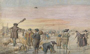 IJsgezicht met jager die een otter toont, Hendrick Avercamp, 1595 - 1634