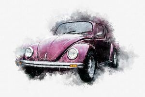 VW Volkswagen Käfer Classic 70er Jahre Seite Aquarell von Andreea Eva Herczegh