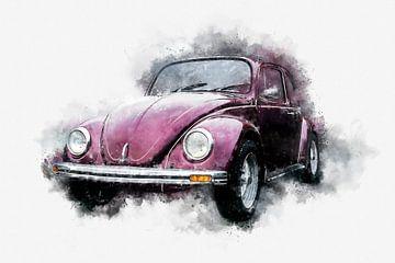 VW Volkswagen Beetle Classic 70s Side Aquarelle sur Andreea Eva Herczegh