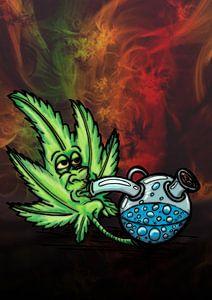 marijuana leaf smoking a bong