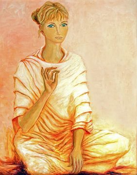 Geschilderd portret van een mediterende vrouw van