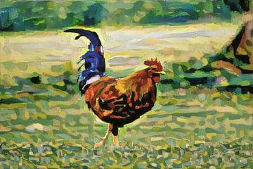 Ländliche Malerei von Hühnern, die mit künstlicher Intelligenz hergestellt wurden: El Pollo Loco von Slimme Kunst.nl