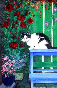 Katze auf einer blauen Bank von Lucienne van Leijen
