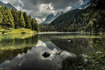 Reflectie van de bergen in het water van Sasja van der Grinten