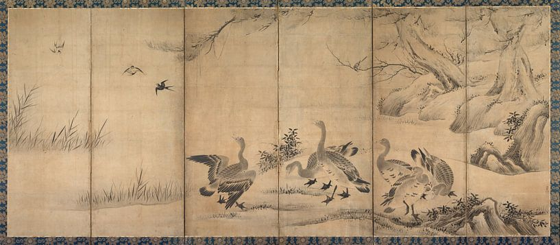 Kanu Sanraku.Wildgänse von 1000 Schilderijen
