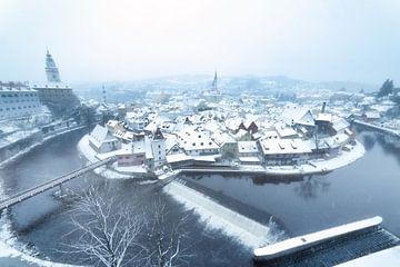 Uitzicht over Ceský Krumlov in de winter