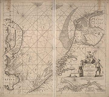 Loodskaart van de Noordzee en Zuiderzee van Atelier Liesjes