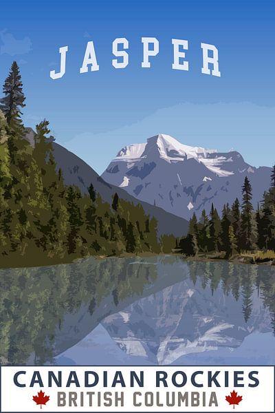 Jasper Alberta Canada Vintage Tourism poster van Joost Winkens