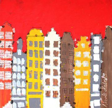 Grachtenpanden, huisjes aan de gracht von Nicole Roozendaal