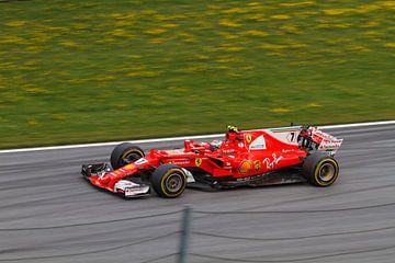 Kimi Räikkönen in actie tijdens de Grand-Prix van Oostenrijk 2017