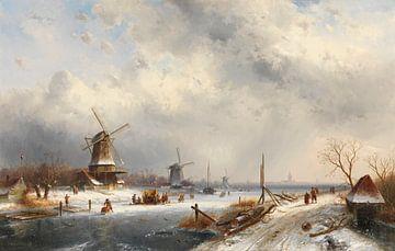 Winterlandschaft mit drei Mühlen, Charles Leickert