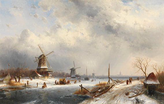 Winterlandschap met drie molens, Charles Leickert