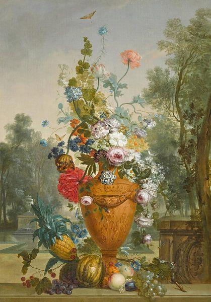 Eine Vase mit Pfingstrosen, Chrysanthemen und einer Nelke mit exotischen Früchten in einem Garten, J von Meesterlijcke Meesters