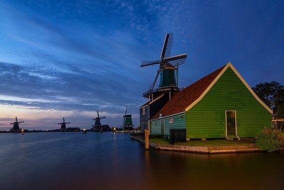 Zaanse Schans Molens  - Blauwe uur van Dick van Duijn