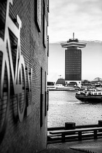 Shelltoren Amsterdam Zwart-Wit van