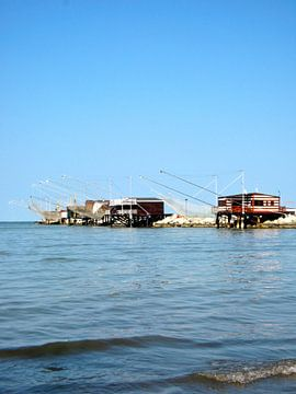 Strand met vissershutten Cesenatico - Italie van Isabelle Val