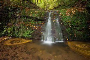 Waterval  Butzerbachtal tijdens de herfst in de Eifel, Duitsland.