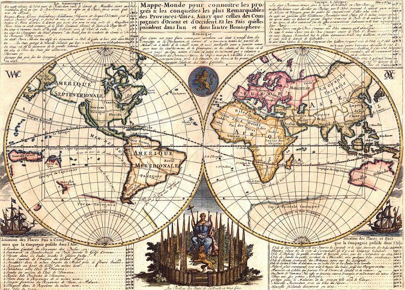 Vintage Wereldkaart anno 1728 van Emma Kersbergen