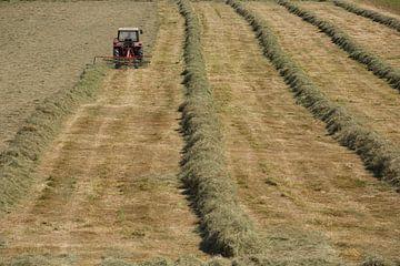 Een landbouwer maait het gras von Ger Loeffen