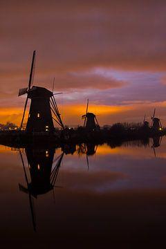 Windmühlen in Kinderdijk während der blauen Stunde von Jeroen Stel