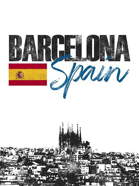 Barcelona Spanje van Printed Artings