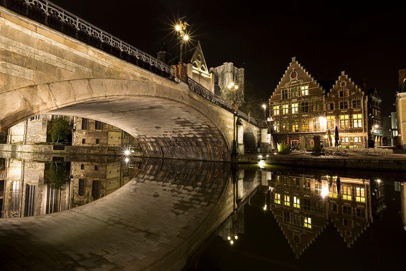 Belgie - Gent bij Nacht - Sint-Michielsbrug van Krist Hooghe
