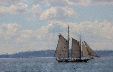 Oud zeilschip op het water van Digitale Schilderijen