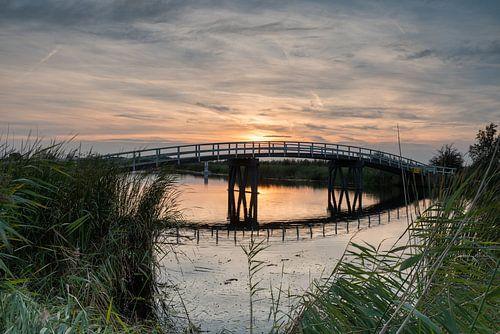 Zijdebrug kort na zonsondergang