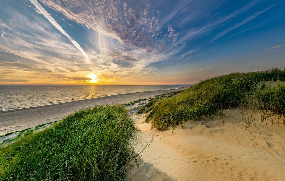 Strand Paal 15 Duin Zonsondergang Texel