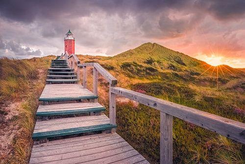 """Dämmerung am Leuchtturm """"Rotes Kliff"""" (Kampen)"""