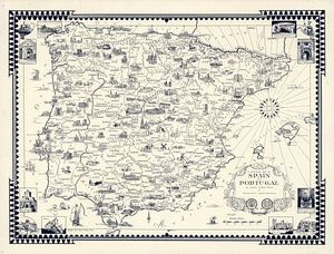 Une carte picturale de l'Espagne et du Portugal