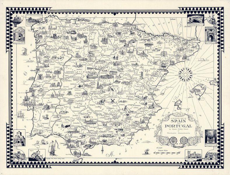 Une carte picturale de l'Espagne et du Portugal sur World Maps