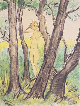 Stehender weiblicher Akt zwischen Bäumen, Otto Mueller - ca1925 von Atelier Liesjes