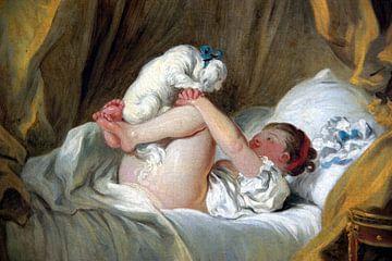 Jean-Honoré Fragonard. Jeune fille dans son lit, faisant danser son chien