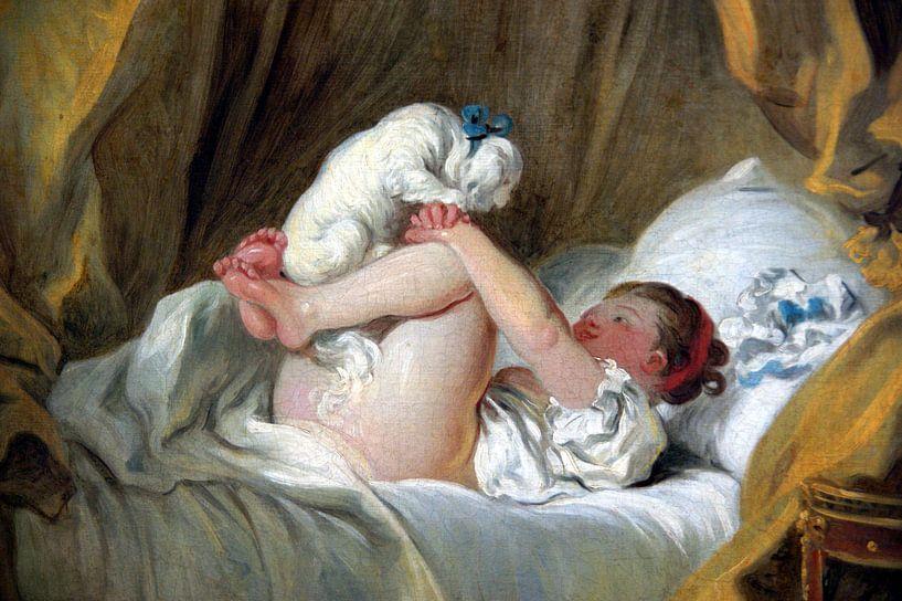 Jean-Honoré Fragonard. Jeune fille dans son lit, faisant danser son chien van 1000 Schilderijen