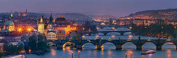 Panorama uitzicht over Praag van Henk Meijer Photography