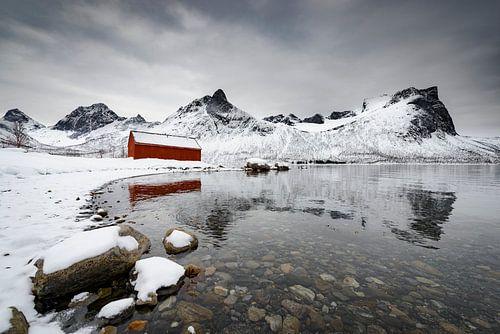 Senja eiland in Noord-Noorwegen tijdens een koude winterdag