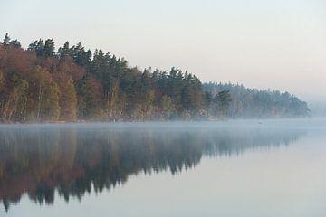 Landschapsfoto, meer in Zweden, vroege ochtendstemming, veel sfeer, veel sfeer van wunderbare Erde