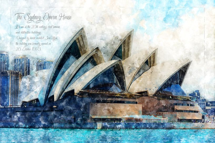 Oper Sydney, Aquarell, Australien von Theodor Decker