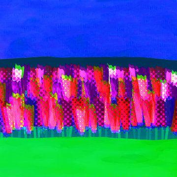 Lisse bloemen roze en rood van Joost Hogervorst