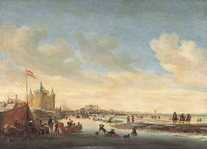 Grote of Sint-Laurenskerk vanuit het noordoosten in de winter, Salomon van Ruysdael