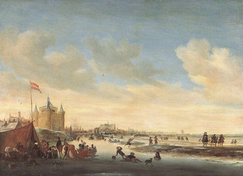 Grote of Sint-Laurenskerk vanuit het noordoosten in de winter, Salomon van Ruysdael van Meesterlijcke Meesters