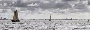 Voiliers néerlandais dans la mer des Wadden sur
