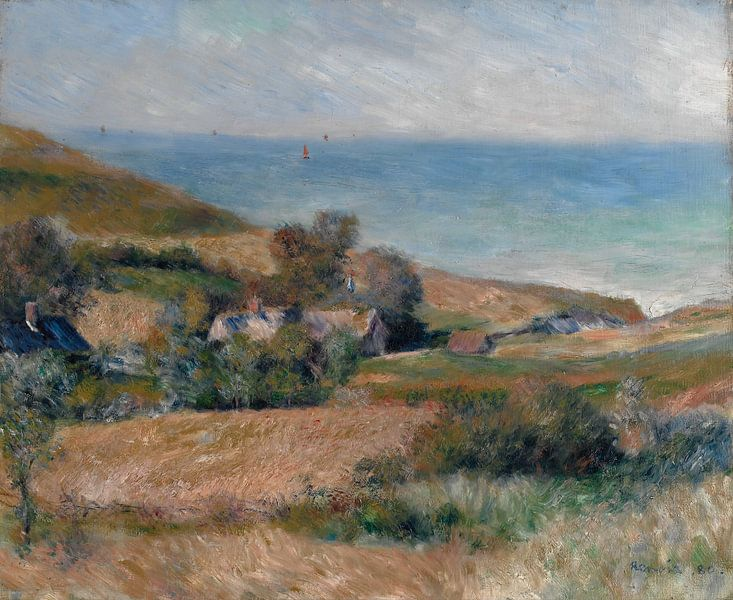 Uitzicht op de kust in de buurt Wargemont in Normandië, Auguste Renoir van Meesterlijcke Meesters